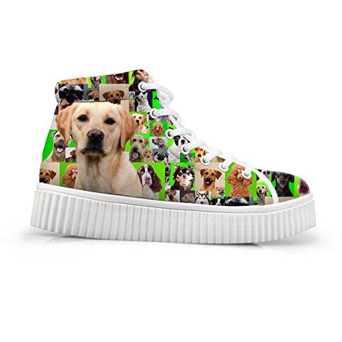 Knuffels Idee Honden Patroon Schattige Dames Hoge Schoenen Plateau Sneakers Labrador Retriever