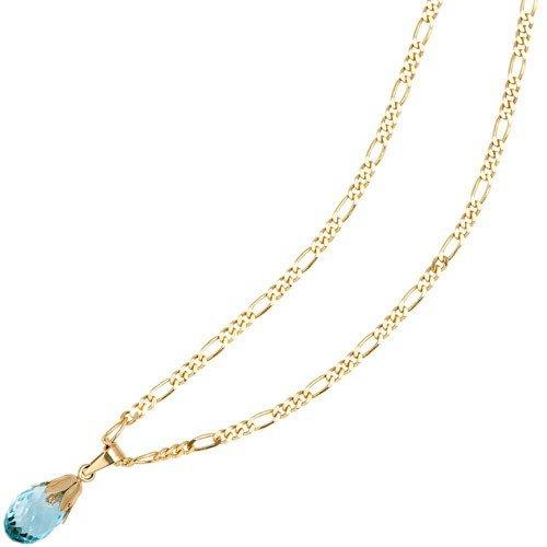 Avec pendentif en forme de topaze bleu &or jaune 333