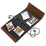 OwnMy Adhesive DIY Scrapbook Photo Album PU Leather Cover Memory Book Guest Book for Anniversary, Wedding, Birthday and Travel Record (60 Black Pages - 6 x 8 Inch)