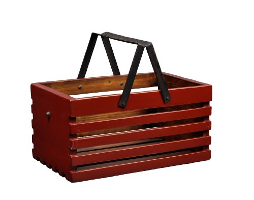 Antique Revival Slat Wood Storage Caddy, Red