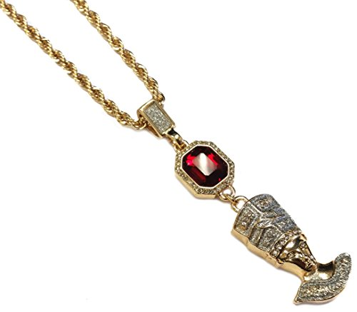 Gold Plated Ruby & Egyptian Queen Nefertiti Double Pendant Fashion Necklace (Ssp Charm)