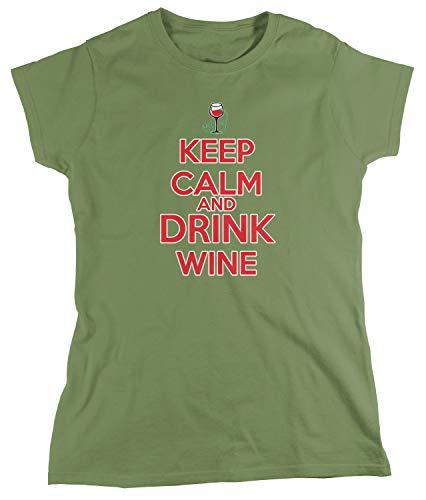 (Amdesco Women's Keep Calm and Drink Wine T-Shirt, Moss Green Small)