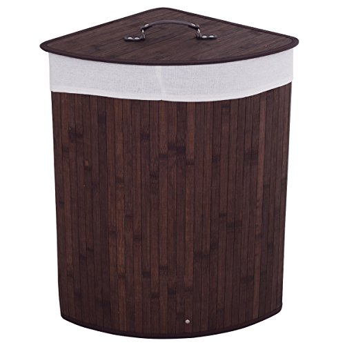Giantex Corner Laundry Hamper W/Lid, Handle and Removable Cloth Bag for Cloth Storage and Organize Bamboo Laundry Basket Bin (Brown) (Hamper Corner)
