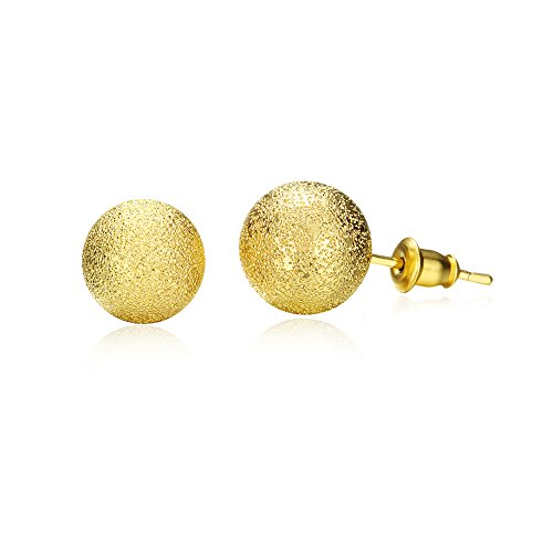 Simple Frosted Ball Bead Stud Earring Golden Tone Wedding Set Birthday Gift For Women Girl by Mrsrui