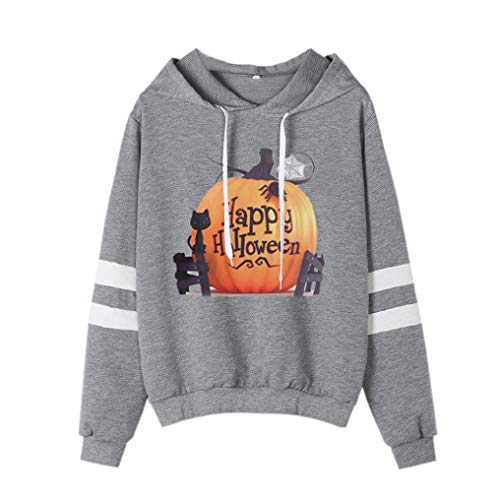 Women Halloween Shirt Funny Pumpkin Costume Long Sleeve Sweatshirt Hoodie Top(I,Small) -