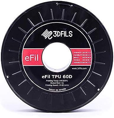 Filamento flessibile per stampa 3D eFil TPU 60D: 2.85 mm Nero 3DFILS 500 g