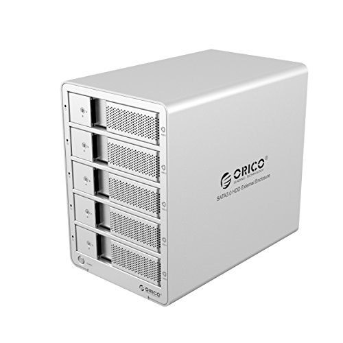 ORICO Tool Free Aluminum USB 3.0 5 bay 3.5-inch SATA Hard Drive Enclosure Support 5x 6TB Drive-Sliver (9558U3) by ORICO