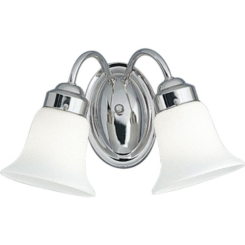 Progress Lighting P3374-15 2-Light Bracket White Opal Glass, Polished Chrome