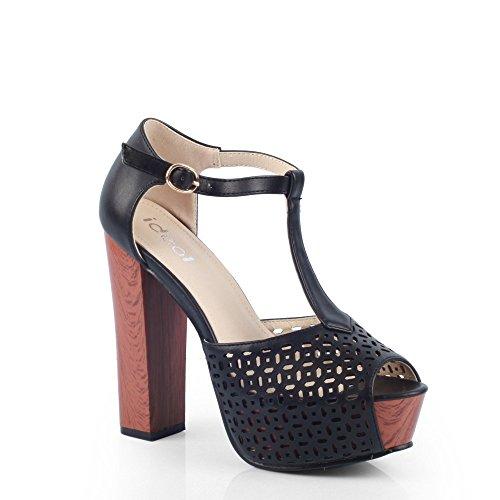 Ideal Shoes Sandale mit Plattform Eisblumenstruktur Miliana Schwarz