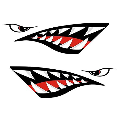 ZUPAYIPA 2 Pcs Shark Teeth Mouth Decals Sticker For Fishing Boat Canoe Car Truck Kayak Graphics Accessories - Waterproof And Durable