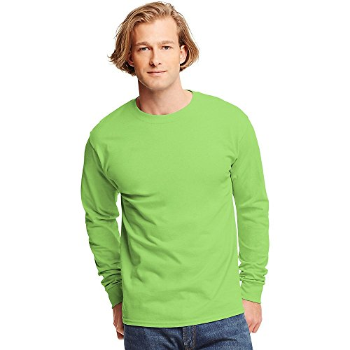 Hanes TAGLESS  Long-Sleeve T-Shirt,Lime,X-Large