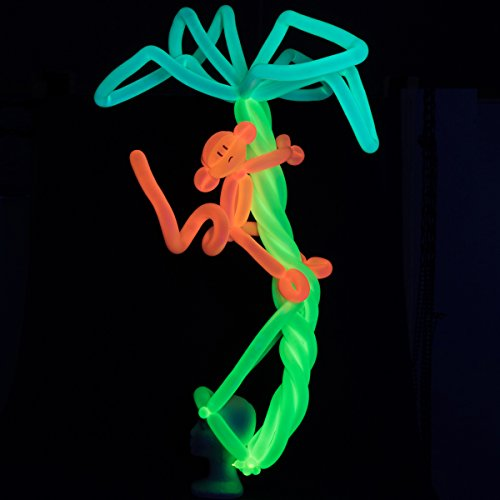 Glow King 75pc UV Blacklight Reactive Fluorescent Neon Balloons for Tying Balloon Animals / Decorating (PUMP NOT INCLUDED)