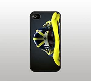 Michigan Wolverines Hard Snap-On Case for iPhone 4 4s - Black - Cool Custom Cover - University of Michigan Football