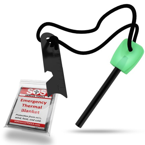 Fire Starter Magnesium - Emergency Blanket - Bottle Opener Survival Gear Pack (Glow in the Dark Green). Perfect for Survival Kits or Bug Out Bag - Lights in Wet Conditions. Blanket is Durable Mylar - by SOS Rescue Tools - 100% Money Back Guarantee.