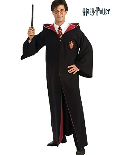 Harry Potter Adult Deluxe Robe, Black, Standard Costume (Medium) (Costume For Adult)