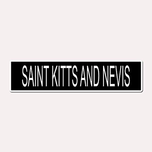 SAINT KITTS AND NEVIS - Kittitian Country Pride Black Vinyl on White - 4X17 Aluminum Street - Shops Charlestown