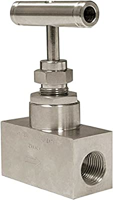"Winters NVA Series Needle Valve, Straight Body, Soft Seat, Stainless Steel, 6000 psi Max Pressure, 1/2"" NPT FxF by Winters Instruments"