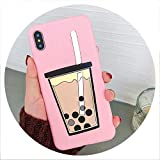 Cartoon 3D Milk Tea Funny Case for Samsung Galaxy A10 A20 A30 A40S A50 A60 A70 A80 M10 M20 M30 Silicon Drink Cup TPU Phone Cover,A2 Core,PearlCup Pink -  disiren