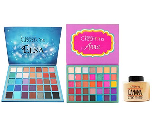 Beauty Creations 35 Color Pro Eyeshadow Palette, Elsa Anna Starter Set w Bonus Banana Setting Powder