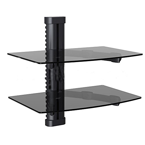 NDA-Electronics Dual Tempered Glass Rack Shelf Wall Mount TV Bracket for DVR DVD Cable Box (Xbox Shelf 360 Game)