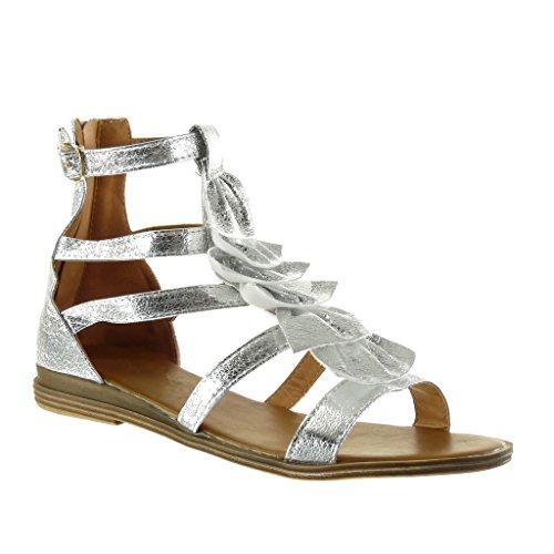 Blocco Donna Frange a cm Argento Multi Tanga Tacco Angkorly Scarpe 5 Sandali Gladiatore Briglia Moda Mules 2 wn7qX7HY
