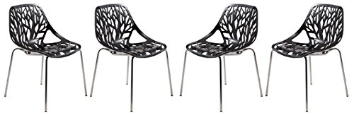 LeisureMod Forest Modern Dining Chair with Chromed Legs, Set of 4 Black