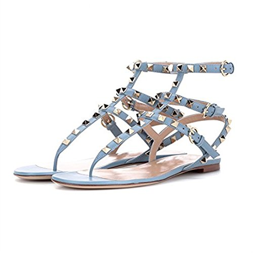Sandals flip Backless Studded Strappy Pan Flats Slippers Mules Womens Slides Caitlin Blue Rivets flops Rockstud Dress n7pwx466Uq