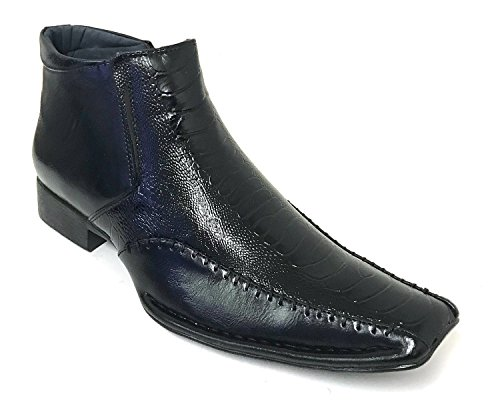G4U- Alberto Fellini Prague-02 Men's Dress Boots Alligator Cowboy Western Ankle Zipper Shoes (8.5 D(M) US