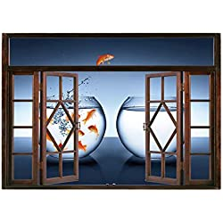 SCOCICI Wall Sticker,Window Looking Out Into/Aquarium,Little Brave Goldfish Jumping One Fishbowl to Another Courage Improvement Decorative,Dark Blue Orange/Wall Sticker Mural