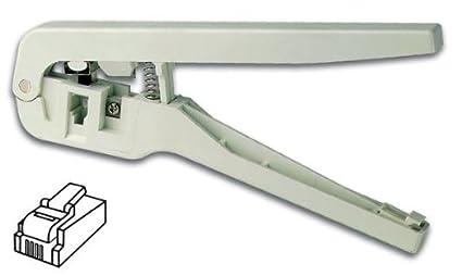 Alicate a crimpar para conectores modulares RJ11 4P4 C (RJ10), 6P4 C (