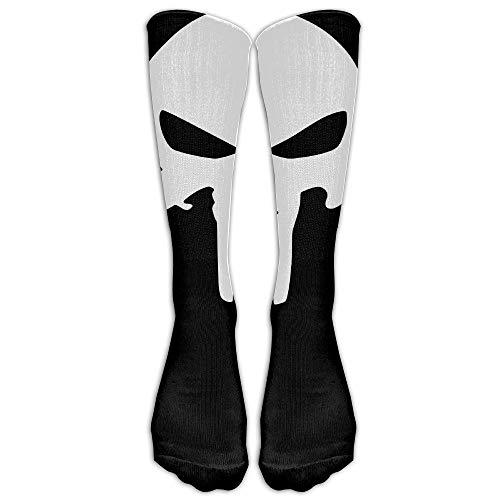 UFHRREEUR Unisex Comics The Punisher Classic Skull Logo Tube Socks Knee High Sports ()