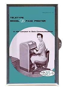 1950s Teletype Machine, Secretary Retro Ad, Guitar Pick or Pill Box USA Made