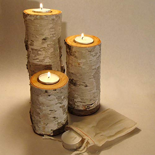 - Real Birch Log Tea-light Candleholder Set (3) These Candleholders Are Crafted From Real Birch Logs. The Tallest Measures About 7.5