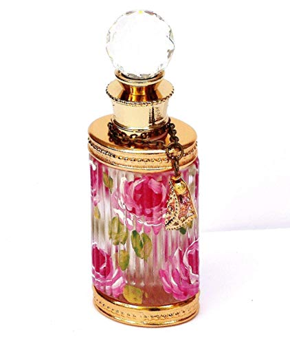 Pink Cottage Chic Crystal - Crystal Glass Gold Small Mini Perfume Bottle with Painted Pink Roses and Swarovski Pendant Romantic Decor