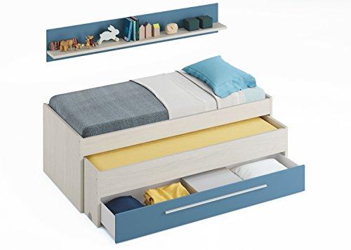 Pack habitación Juvenil con Cama Nido Estante de Pared, Armario y SOMIERES INCLUIDOS Color Blanco y Azul: Amazon.es: Hogar