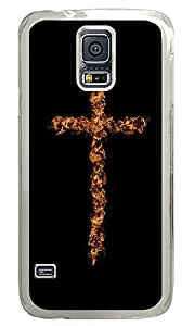 Samsung Galaxy S5 Flame Art Cross PC Custom Samsung Galaxy S5 Case Cover Transparent