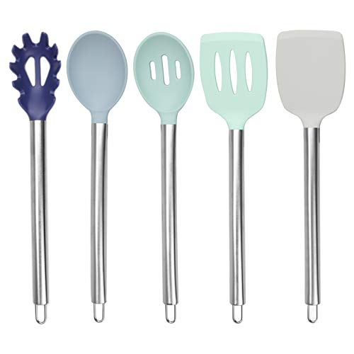 Cook with Color Silicone Cooking Utensils, 5 Pc Kitchen Utensil Set, Easy to Clean Silicone Kitchen Utensils, Cooking…