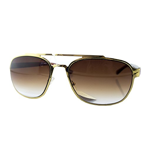 HAND Stylish 231 Men's Gold Coloured Frame and Graduated Brown Lens Unisex Sunglasses - Width at Temples 144 mm - 100% UV400 - Graduated Sunglasses Lenses