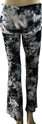 Tie Dyed Yoga Pants - Skirted Palazzo Pants with Comfortable Fold Over Waist Skirt BG/XS -