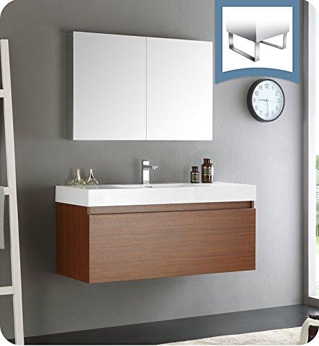 "Fresca Mezzo 48"" Teak Wall Hung Modern Bathroom Vanity with Medicine Cabinet"