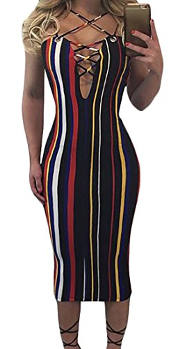 Cruiize Women's Sexy Lace Up Bodycon Sleeveless Stripe Midi Dress Black Large