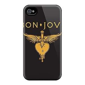 Shockproof Hard Phone Cover For Iphone 4/4s (txS17051UWBp) Unique Design Stylish Bon Jovi Image