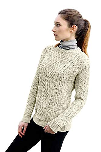 (West End Knitwear Aran Crafts Irish Cable Knit Crew Neck Merino Wool Sweater with Pockets (Natural,)