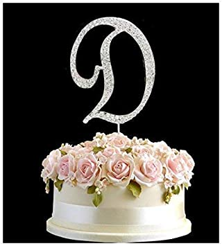 rhinestone silver birthday anniversary cake topper letter d sign symbol pick and crystal diamante decoration