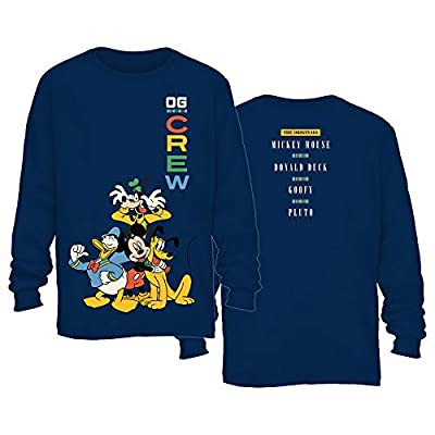 Disney Mickey Mouse Donald Duck Goofy Pluto Front Back Print Disneyland World Funny Graphic Adult Men's Long Sleeve T-Shirt