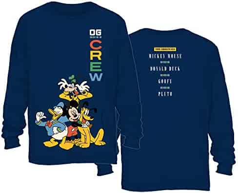 ba8aa8bc9c9a29 Disney Mickey Mouse Crew Donald Duck Goofy Pluto Disneyland World Funny  Graphic Adult Men s Long Sleeve
