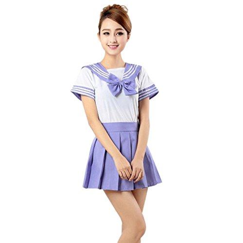 Robiear Girls Senior School Uniform Shirt+Skirt Set (S, Purple) (Sexy Men Uniform)