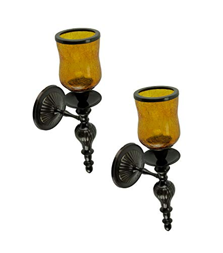 India House Amber Crackled Glass Hurricane Bronze Finish Votive Candle Wall Sconce Set of 2 (Votive Wall)
