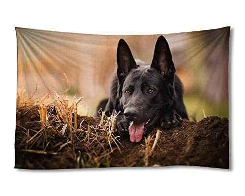 EGOTOU German shepherd black dog front view Wall Tapestry Home Decor Art Wall Hanging Tapestries 40x60 inch