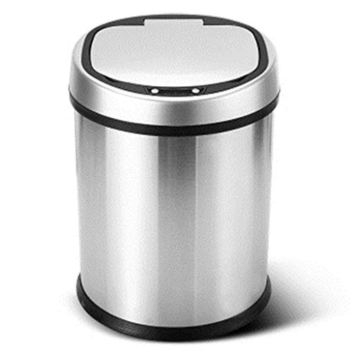 8L Stainless Silver Steel Automatic Sensor Touchless Waste Bin-Rose Red ()